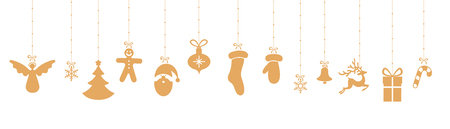 White Christmas and New Year banner with orange festive decorations. Vector background.