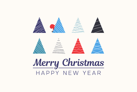 Merry Christmas and Happy New Year card with abstract colorful Christmas trees. Vector background.
