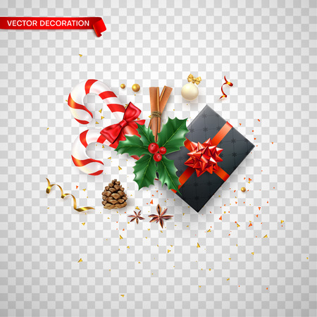 Christmas and New Year card template with top view gift, holly berries, candy and festive decorations on transparent backdrop. Vector background.