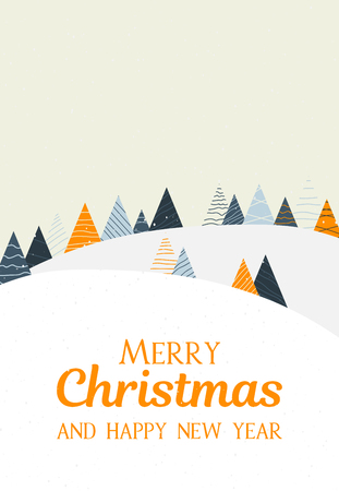 Merry Christmas and Happy New Year greeting card with creative winter landscape. Vector background.