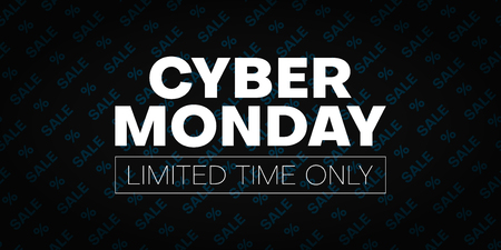 Cyber monday sale promo poster with percent sign. Limited time only. Vector background. Çizim