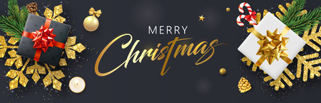 Merry Christmas banner with top view gifts, gold snowflakes and holiday decorations. Vector background.