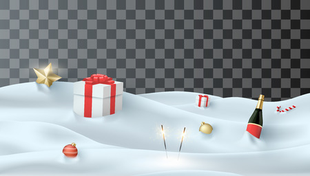 Festive template with snow, gifts, Champagne and holiday decorations on transparent background for Christmas and New Year design. Vector illustration. Ilustração
