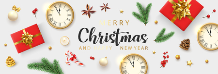 White Merry Christmas and Happy New Year banner with clock, red top view gifts and holiday decorations. Vector background. Illustration