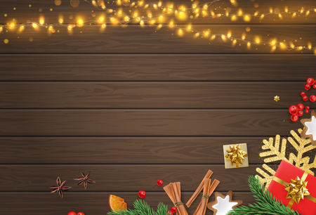 Christmas and New Year festive poster template with shiny lanterns and Christmas decorations on brown wooden textured backdrop. Vector background.