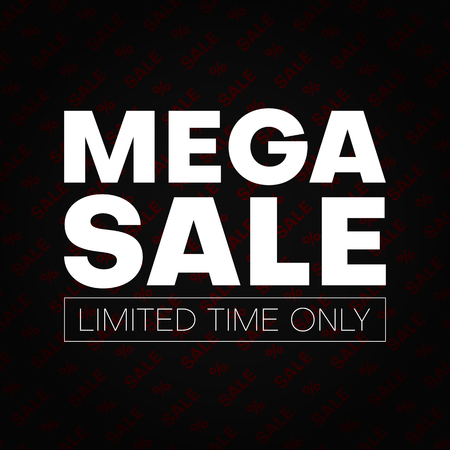 Mega sale promotion card with percent sign. Limited time only. Vector background.   Çizim