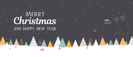 Merry Christmas and Happy New Year banner with Santa Claus delivers gifts on sleigh. Vector background.