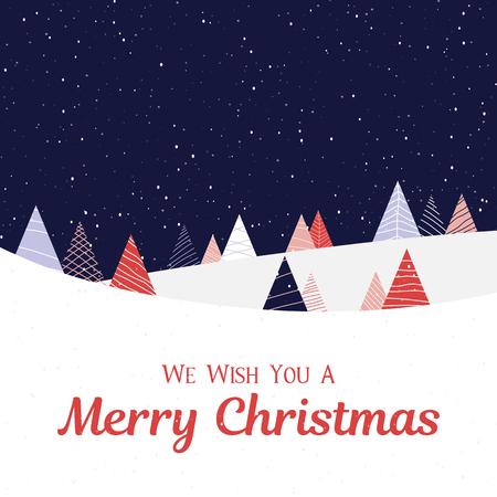 Frohe Weihnachten-Grußkarte mit Winterlandschaft und Schnee. Vektor-Hintergrund.
