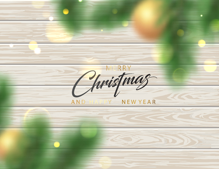 Merry Christmas and Happy New Year card with wooden backdrop and blurred shiny fir branches. Vector background.