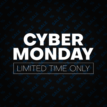 Cyber monday sale promotion poster with percent sign. Limited time only. Vector background.