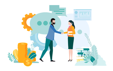 People meet, implement business projects, view diagrams, search for partnership and increase business. Teamwork, startup, business communication. Vector illustration, flat style.