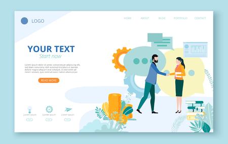 Página de destino para sitio o plantilla de página web para proyectos empresariales con personas, iconos, gráficos, dinero y espacio para texto sobre fondo blanco. Trabajo en equipo, puesta en marcha, negocios. Ilustración de vector de estilo plano.
