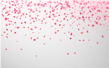 Red and pink paper confetti in shape of hearts on transparent backdrop. St. Valentine's Day pattern. Love design. Vector background.