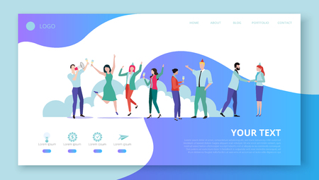 Landing page for site or web page template for corporate projects, teambuilding, party with happy people, icons and space for text on white background. Vector illustration, flat style.