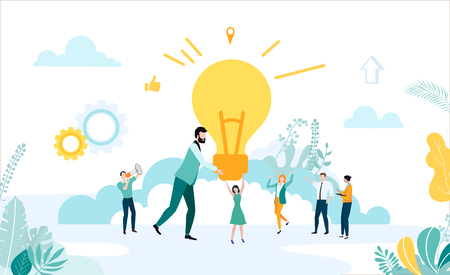Landing page template for business projects and idea with people and lightbulb on white background. Teamwork, startup, business. Vector illustration, flat style.