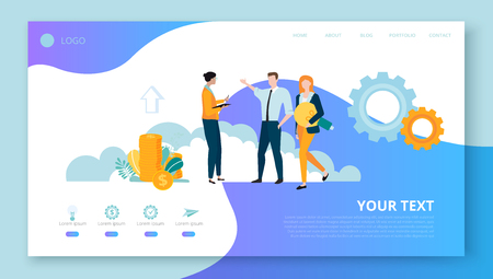 Landing page for site or web page template for business projects with people, money and space for text on white background. Teamwork, startup, business. Vector illustration, flat style.