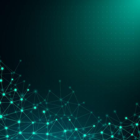 Affiche de communication globale verte avec motif abstrait de réseau numérique brillant. Fond de vecteur. Vecteurs