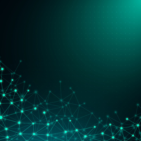 Green global communication poster with abstract shiny digital network pattern. Vector background. Vektorové ilustrace