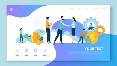 Page de destination pour le modèle de site ou de page Web pour les projets d'entreprise avec des personnes, de l'argent et de l'espace pour le texte sur fond blanc. Travail d'équipe, démarrage, entreprise. Illustration vectorielle, style plat.