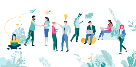 People work, study, meet, set goals, plan, analyze and increase efficiency and income. Teamwork, education, communication, online technology, business. Vector illustration, flat style.  向量圖像