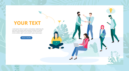 Landing page template for business or educational projects with people and space for text on white background. Teamwork, startup, business communication. Vector illustration, flat style.