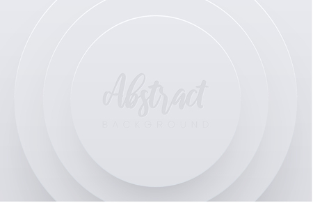 White abstract paper template with multi-layered circles pattern. Papercut shapes design, vector background. Иллюстрация