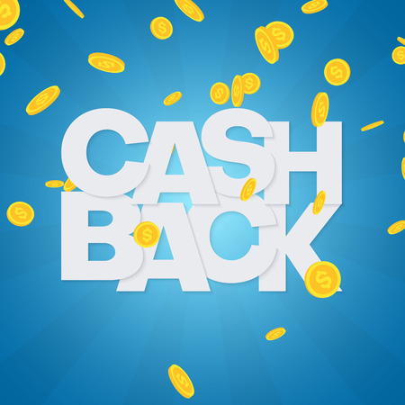 Money cashback blue poster with gold dollar coins. Vector background.