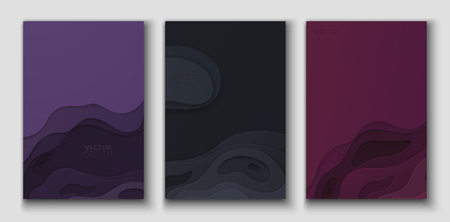 Set of purple, vinous and black abstract 3d cards with multi-layered papercut shapes. Paper design, vector background.