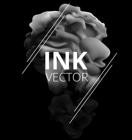 Grey ink splash. Hookah smoke. Realistic vector illustration. Swirling paint cloud isolated on black background. Abstract artistic element for design.