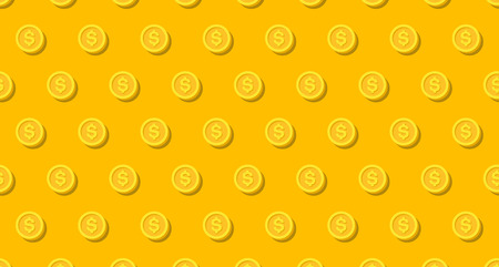 Money or finance yellow pattern with golden dollar coins. Banking, cashback, payment, e-commerce. Vector background.
