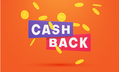 Money cashback orange poster with gold dollar coins. Vector paper background. Illustration