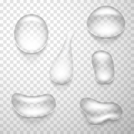 Set of realistic macro water drops isolated on transparent background. Vector illustration. Vettoriali