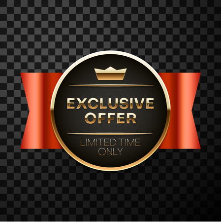 Exclusive offer black sign or label with red ribbon isolated on transparent background for sale, discount, advertising, promotion. Vector icon.
