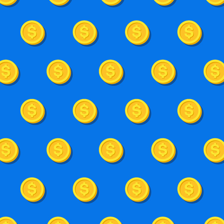 Money or finance blue pattern with golden dollar coins. Banking, cashback, payment, e-commerce. Vector background.