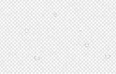 Transparent background with realistic water or liquid drops. Dew on glass. Vector illustration.