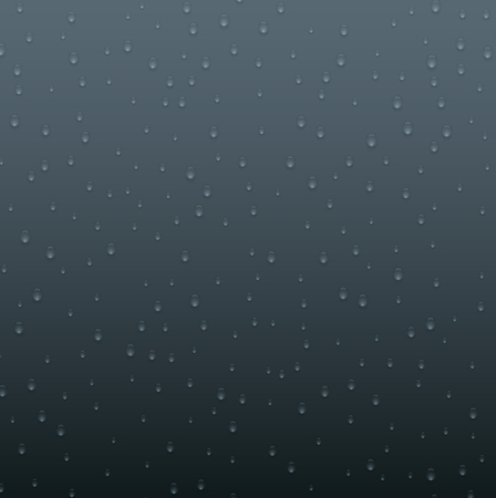 Grey background with realistic water or dew drops. Vector illustration.