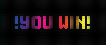 You win neon digital banner. Sport, competition, online games, lottery. Bright spectrum signboard on black backdrop. Vector background.
