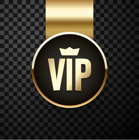 VIP golden and black sign or label isolated on transparent background for marking of goods and services, advertising, promotion. Vector icon.