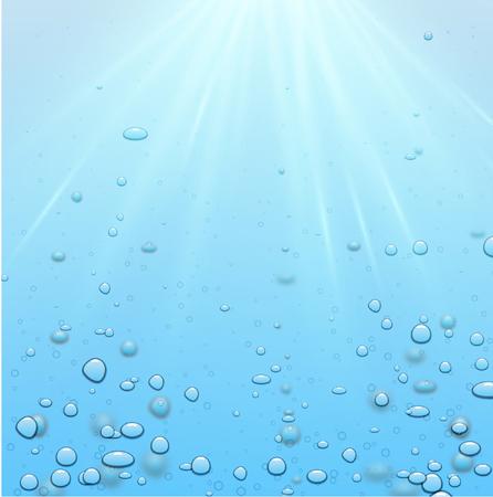 Sfondo di acqua blu con sole e bolle o gocce realistiche. Rugiada sul vetro. Illustrazione subacquea di vettore.