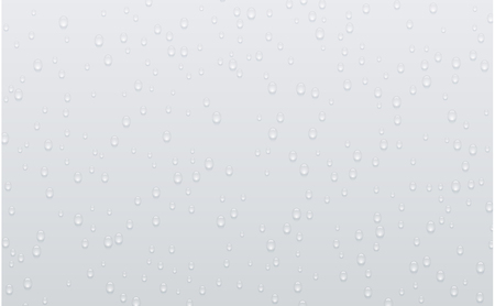 Grey background with realistic water or liquid drops. Dew on glass. Vector illustration.