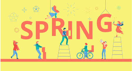 Spring yellow poster with happy people building figures. Flat style design. Vector background.