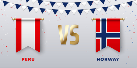 Peru VS Norway: teams presentation for sports games, competitions and battles. Screen with national flags and confetti. Vector background.