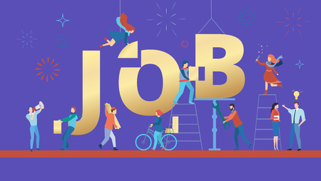 Job, purple poster with people working. Staff recruitment and open vacancy. Vector background, flat style.