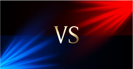 Versus - confrontation, red and blue shiny screen with soffits and VS sign. Battle, business confrontation, rivalry, match, challenge, sport, competition. Vector background.