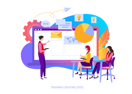 Training creating sites for web designers and app coders. People learn to create content, new marketing, online promotion and smm technologies. Vector illustration, flat style. Archivio Fotografico - 125069793