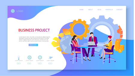 Business project and ideas. Presentation, landing page or webpage design template with icons, people work and confer, and space for text. Startup, business coaching. Vector background, flat style. Ilustração Vetorial