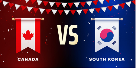 Canada VS South Korea: teams presentation for sports games, competitions and battles. Screen with national flags and confetti. Vector background. Illustration