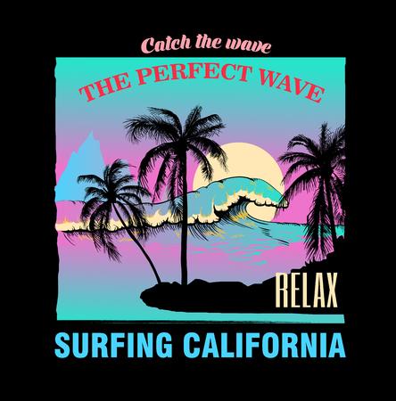 Vista sul mare con onde e palme sulla spiaggia. Decorazioni per tessuti, tessuti, vestiti. Stampa t-shirt, scritta surf California, design estivo alla moda per giovani, adolescenti, poster. Illustrazione vettoriale.