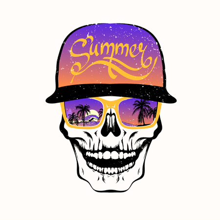 Skull in sunglasses with palm trees and purple cap isolated on white background. Decoration for fabric, clothes. T-shirt print, trendy summer design for youth, teenagers. Vector illustration.