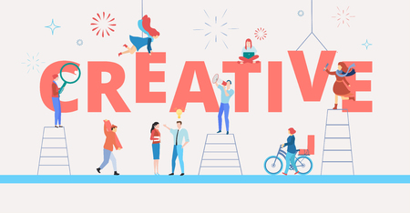 White creative banner with people working on art project. Teamwork, design and new solutions. Vector background, flat style.